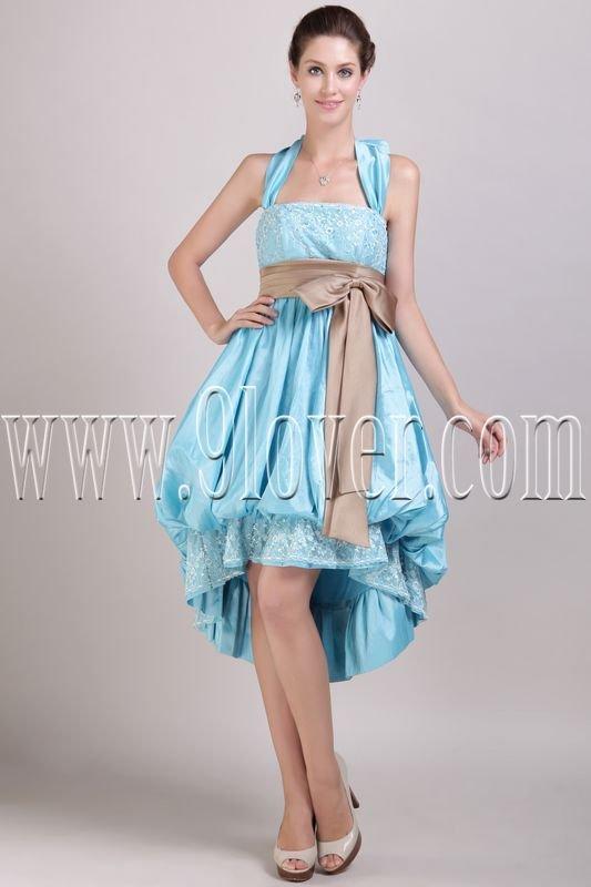 elegant sky blue satin halter a-line high low homecoming dress IMG-2971