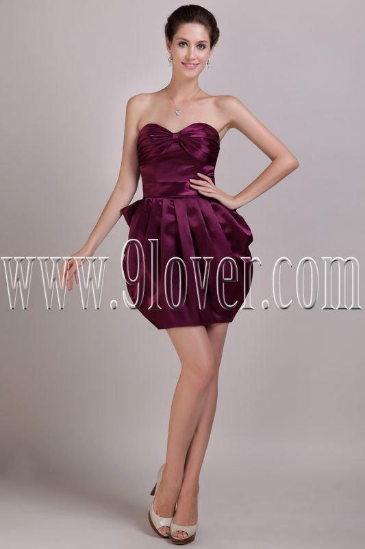 sexy purple satin sweetheart a-line mini length cocktail dress IMG-2980