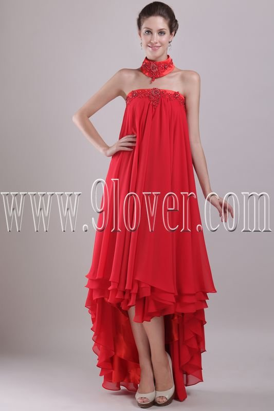 unique red chiffon strapless empire prom dress with high low hem IMG-2987