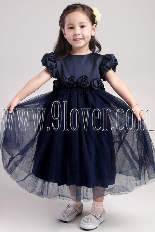 formal dark blue jewel neck a-line tea length flower girl dresses IMG-2003