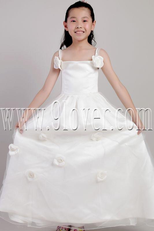 lovely spaghetti straps a-line floor length flower girl dress IMG-2059