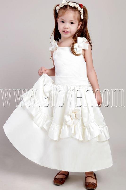 lovely white satin straps a-line tea-length flower girl dresses IMG-2098
