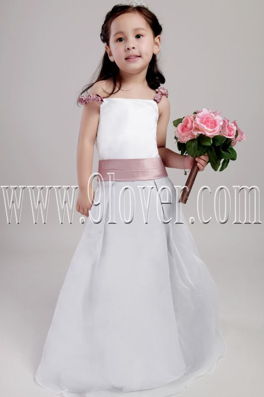 adorable spaghetti straps white satin a-line floor length junior bridesmaid dress IMG-2106