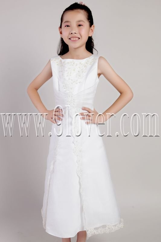 cute white stain and tulle straps a-line tea length flower girl dress IMG-2155