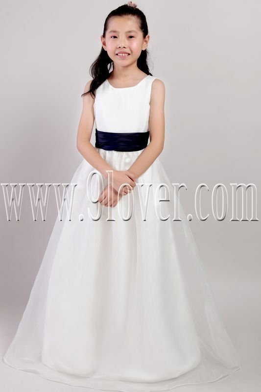 formal white satin and tulle straps a-line floor length flower girl dress IMG-2217