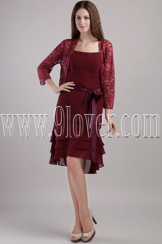 burgundy chiffon spaghetti straps a-line knee length homecoming dress with lace bolero IMG-2236