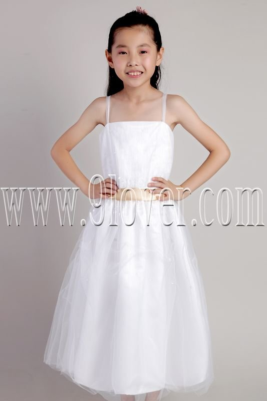 lovely white tulle spaghetti straps a-line tea length flower girl dress IMG-2317