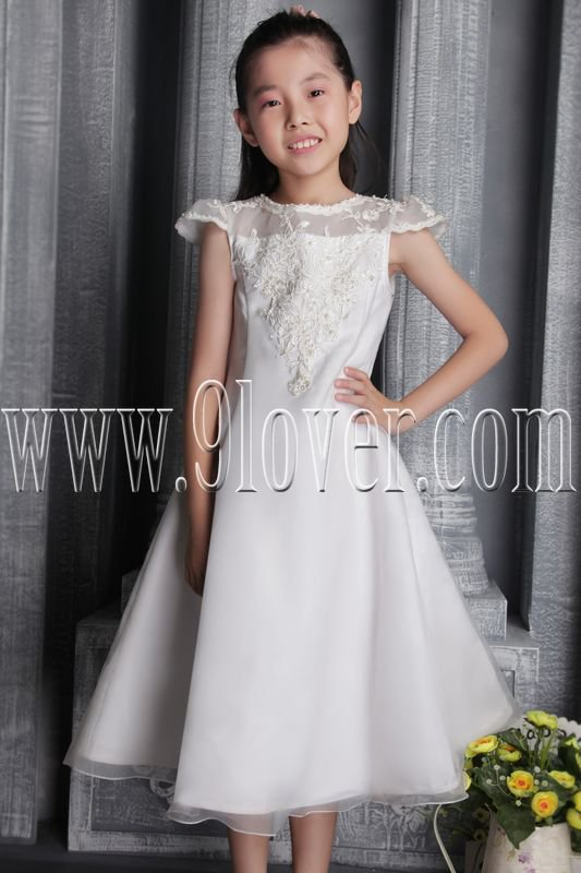 adorable tulle jewel neck a-line short sleeves tea length flower girl dress IMG-2591