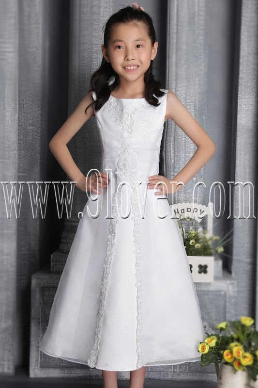 lovely white tulle scoop neck a-line tea length flower girl dress IMG-2614