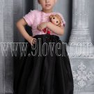 lovely pink and black tulle jewel neck a-line tea length flower girl dress IMG-2633