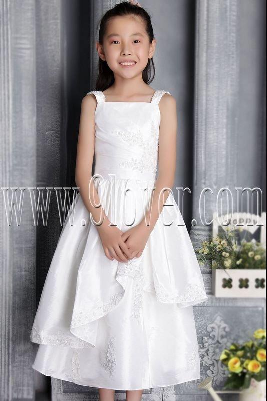 cute straps white satin a-line tea length flower girl dress IMG-2660