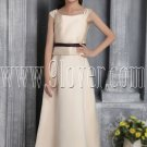 formal champagne satin straps a-line floor length junior bridesmaid dress IMG-2675