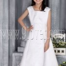 princess square neck a-line tea length flower girl dress IMG-2741