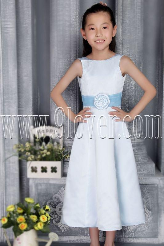 cute sky blue satin jewel neck a-line tea length flower girl dress IMG-2767