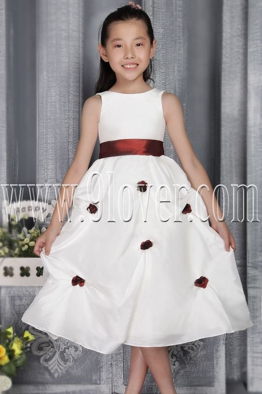 cute white taffeta jewel neck a-line tea-length flower girl dress IMG-2772