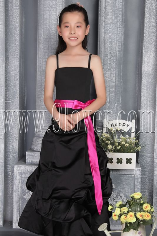 formal black satin straps a-line floor length junior evening dress with pink sash IMG-2786