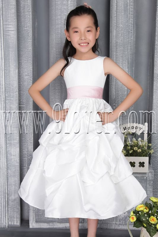 cute white taffeta scoop neck a-line tea length flower girl dress with pink sash IMG-2801