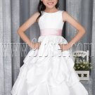 cute white taffeta scoop neck a-line tea length flower girl dress with pink sash IMG-2801
