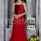 attractive red satin spaghetti straps a-line floor length junior bridesmaid dress IMG-2828