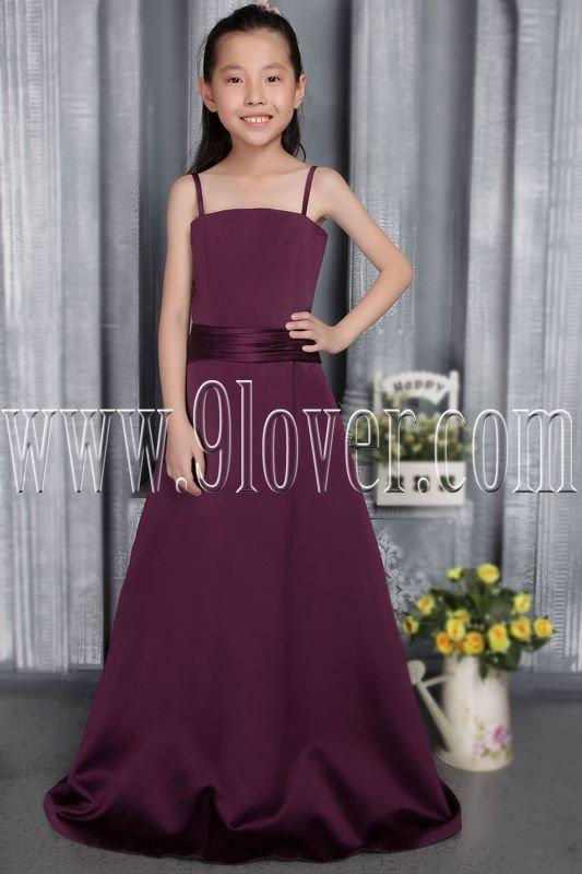 formal burgundy satin spaghetti straps a-line floor length junior bridesmaid dress IMG-2835