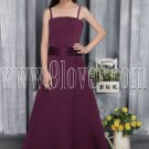 formal burgundy satin spaghetti straps a-line floor length junior bridesmaid dress IMG-2835