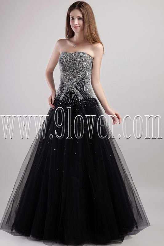 luxurious black tulle strapless a-line floor length prom dress IMG-1936
