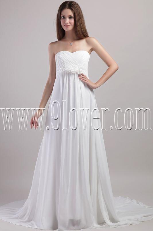 charming shallow sweetheart empire floor length chiffon maternity wedding dress IMG-1956