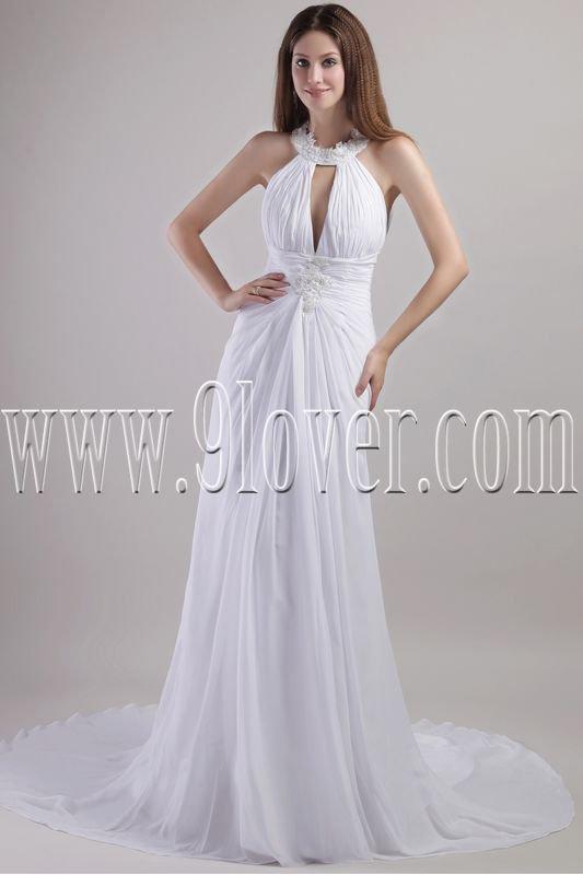 modern white chiffon halter a-line floor length casual wedding dress IMG-1967