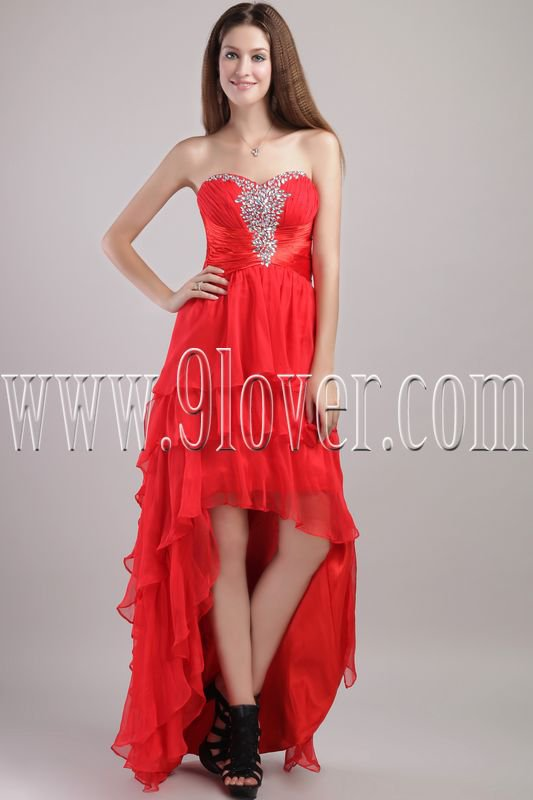 gorgeous red tulle sweetheart a-line high low skirt prom dress IMG-1993