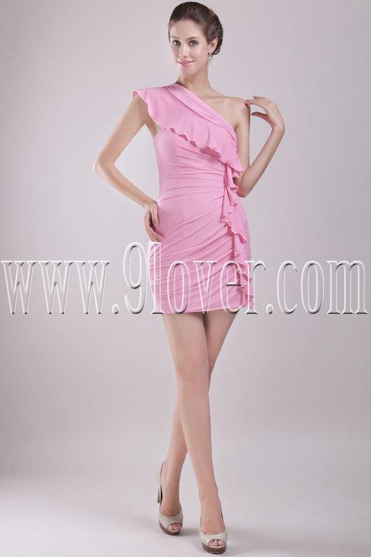 elegant pink chiffon one shoulder a-line mini length homecoming dress IMG-2916