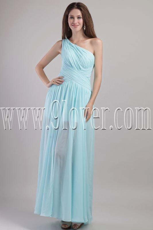 elegant ice blue chiffon one shoulder a-line floor length bridesmaid dress IMG-2008