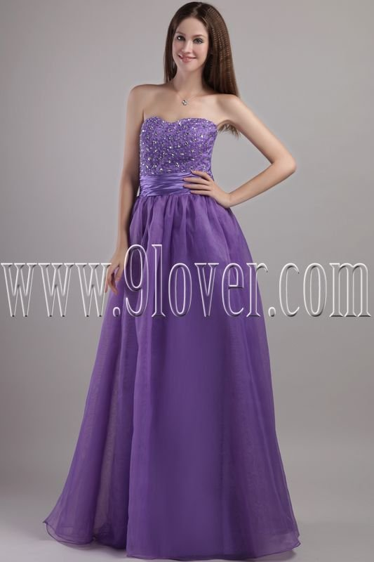 charming lavender organza strapless a-line floor length prom dress IMG-2044