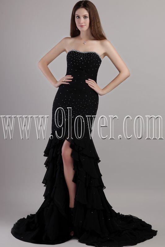 modest and charming black chiffon shallow sweetheart a-line floor length evening dress IMG-2147