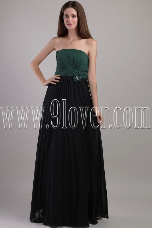 unique green and black chiffon strapless column floor length bridesmaid dress IMG-2174