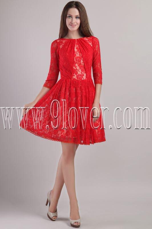 modern red lace bateau neck a-line long sleeves mini length homecoming dress IMG-2208