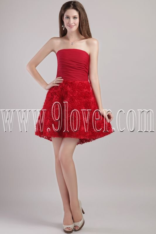 modern red floral strapless a-line mini length cocktail dress IMG-2228