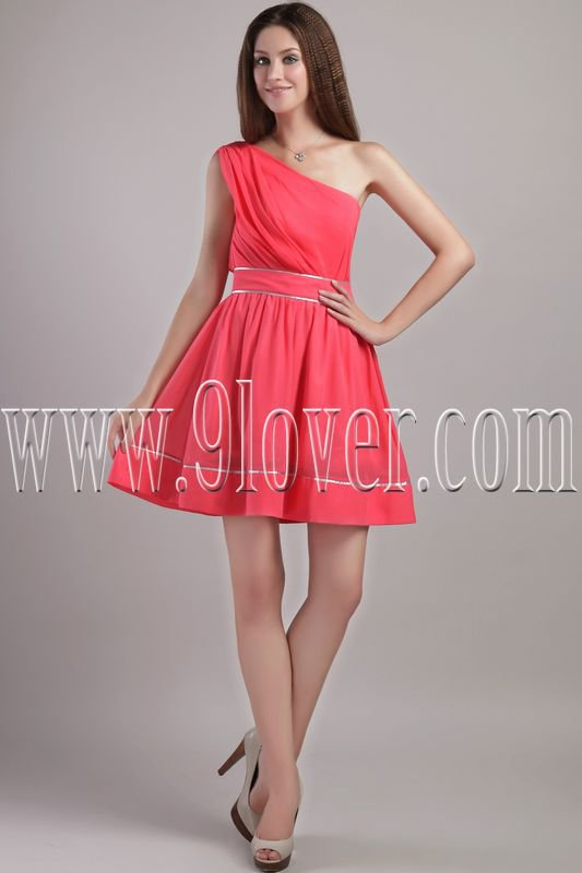 modern and chic water melon chiffon one shoulder a-line mini length cocktail dress IMG-2251