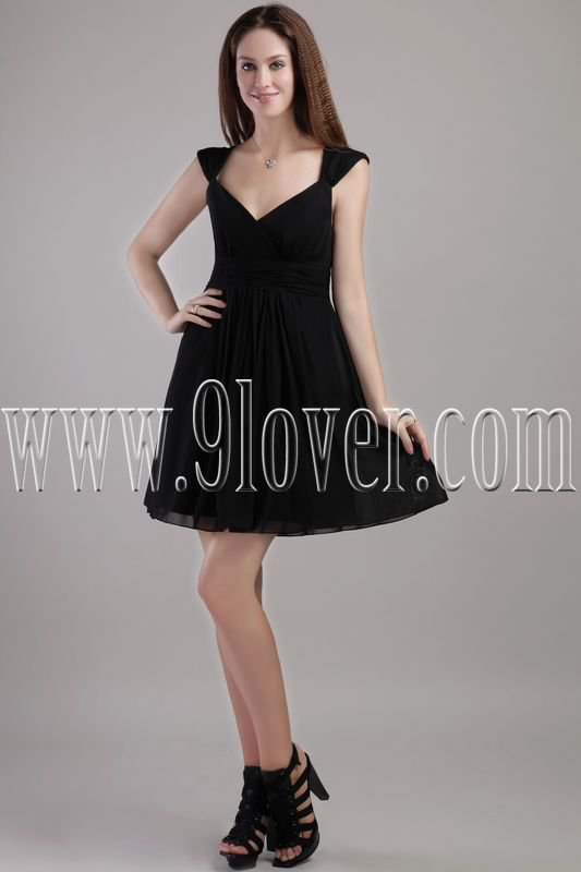 exquisite black chiffon v-neck a-line mini length homecoming dress IMG-2265