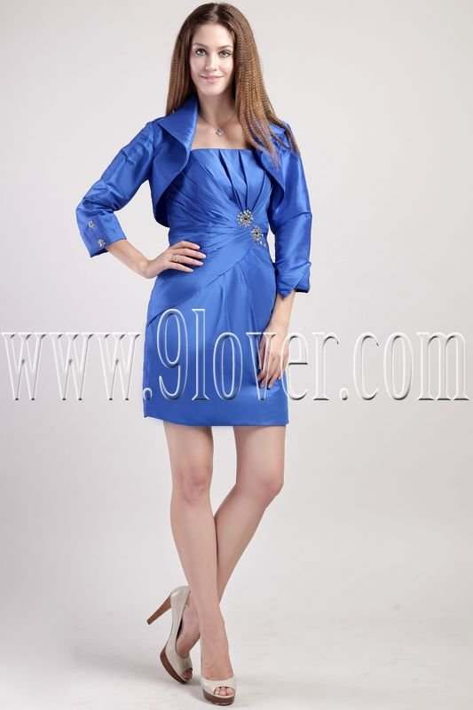 glamour royal blue satin strapless a-line mini length mother of the bride dress with bolero IMG-2282