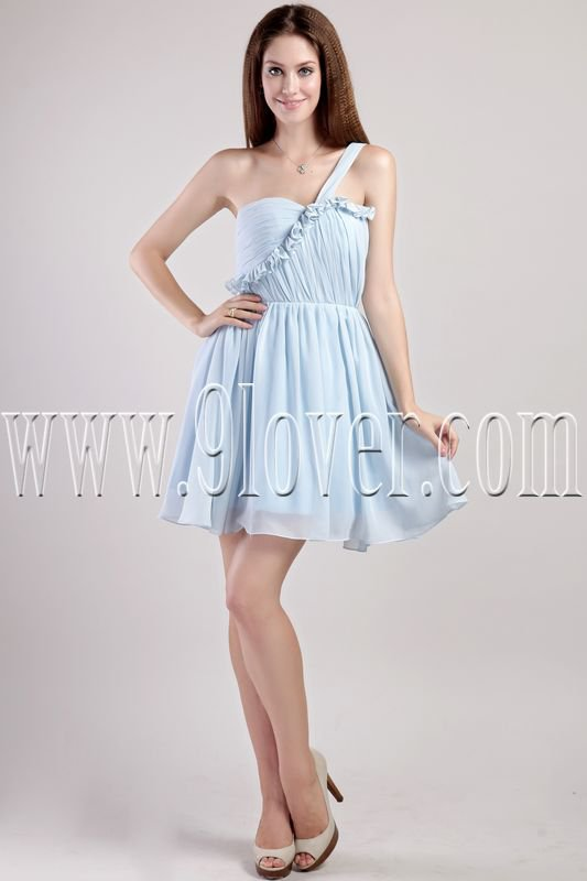 charming ice blue chiffon one shoulder a-line mini length homecoming dress IMG-2290