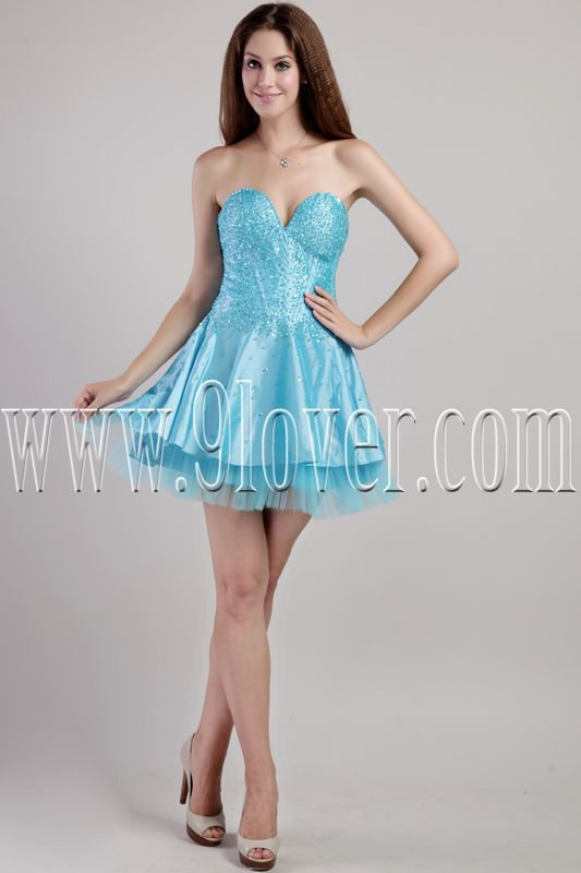 modern and chic blue satin sweetheart a-line mini length cocktail dress IMG-2298