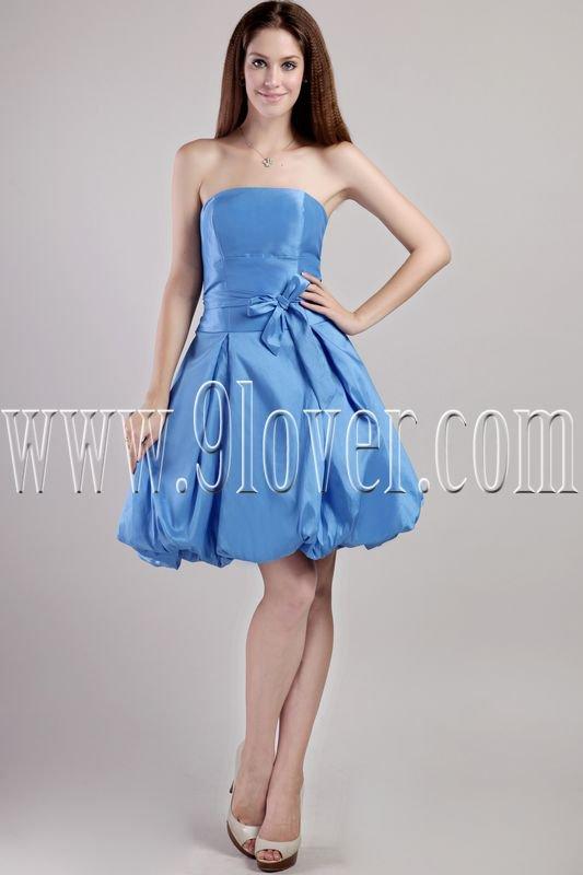 stunning royal blue satin strapless a-line knee length bridesmaid dress IMG-2307