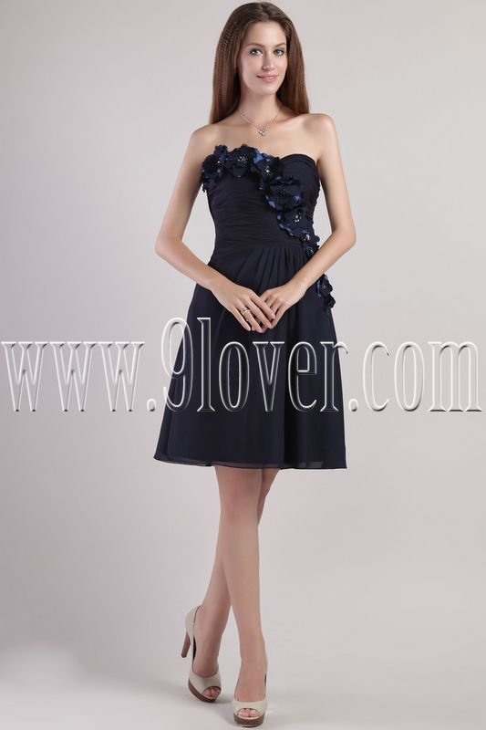exquisite dark blue chiffon sweetheart a-line knee length homecoming dress IMG-2337