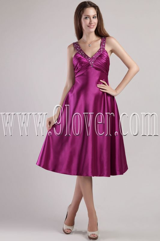 elegant fuchsia satin straps a-line floor length knee length bridesmaid dress IMG-2349