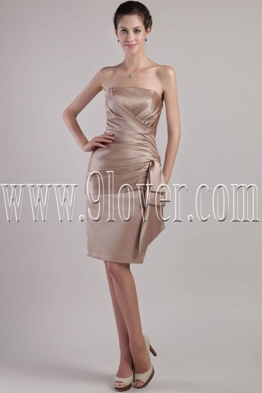 stunning champagne satin strapless a-line knee length mother of the bride dresses IMG-2419