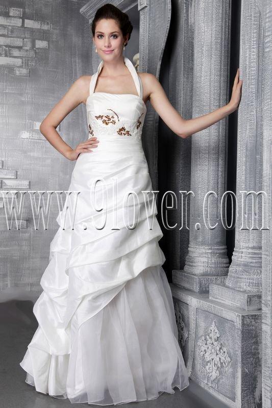 modern and classic white taffeta halter a-line floor length wedding dress IMG-2469