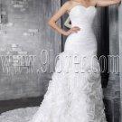 stunning and vintage white tulle sweetheart a-line floor length wedding dress ruffles skirt IMG-2479