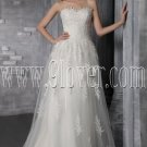 elegant and stunning white tulle strapless a-line floor length wedding dress with appliques IMG-2606