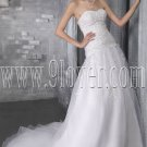 exquisite white organza sweetheart a-line floor length wedding dress IMG-2778