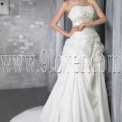 stunning white satin sweetheart a-line floor length wedding dress IMG-2792